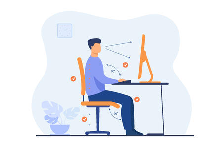 Instruction for correct pose during office work